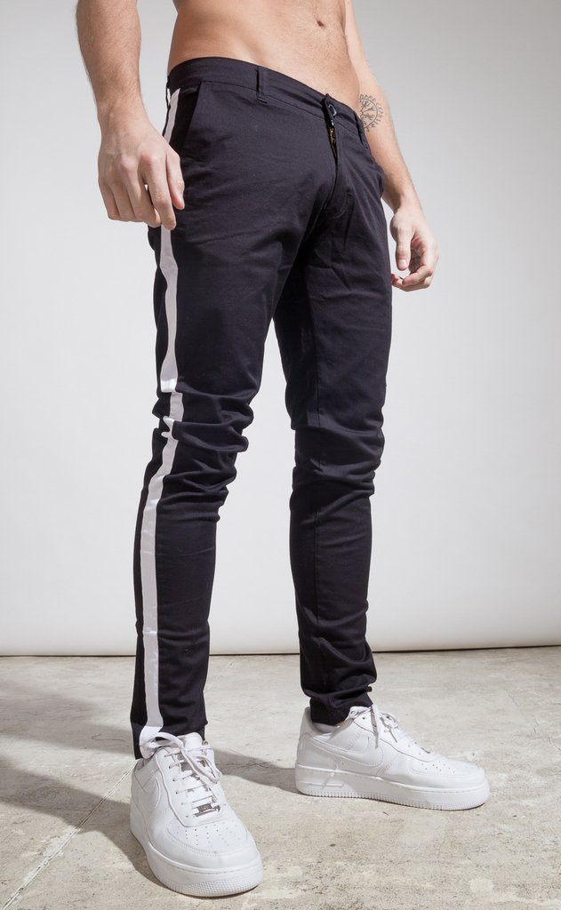 Skinny gabe Chinos - Black with stripes - buy online