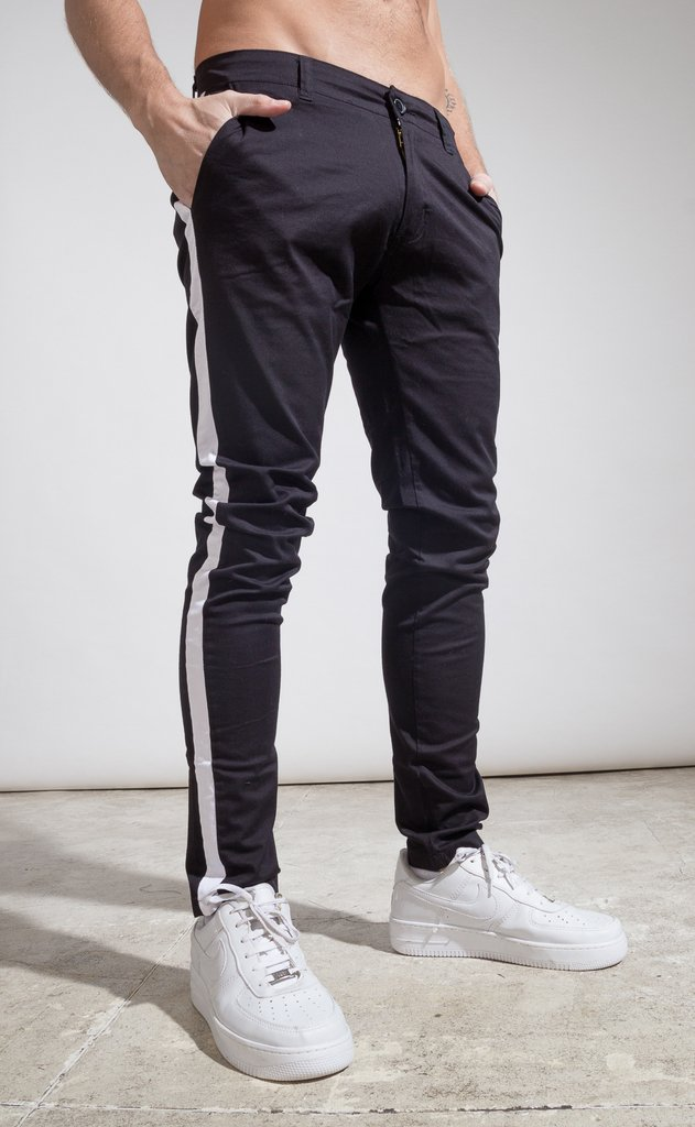 Skinny gabe Chinos - Black with stripes on internet