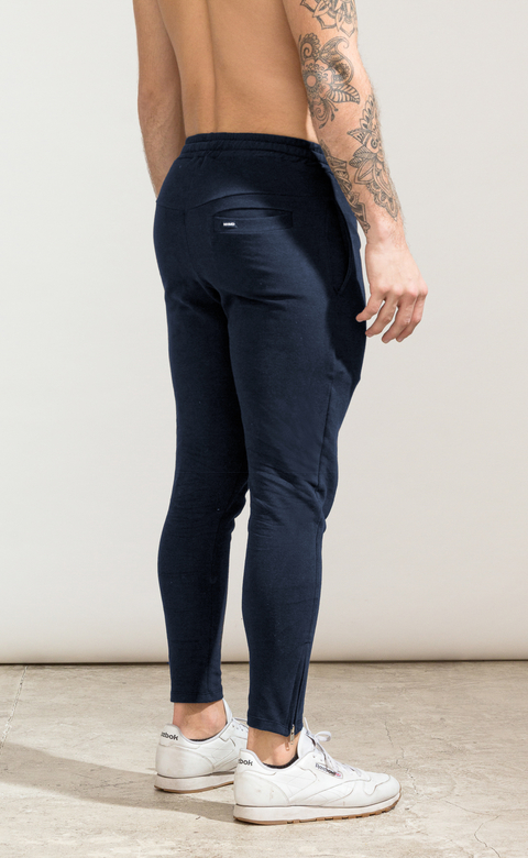 Skinny cotton jogger - Zipper blue - buy online