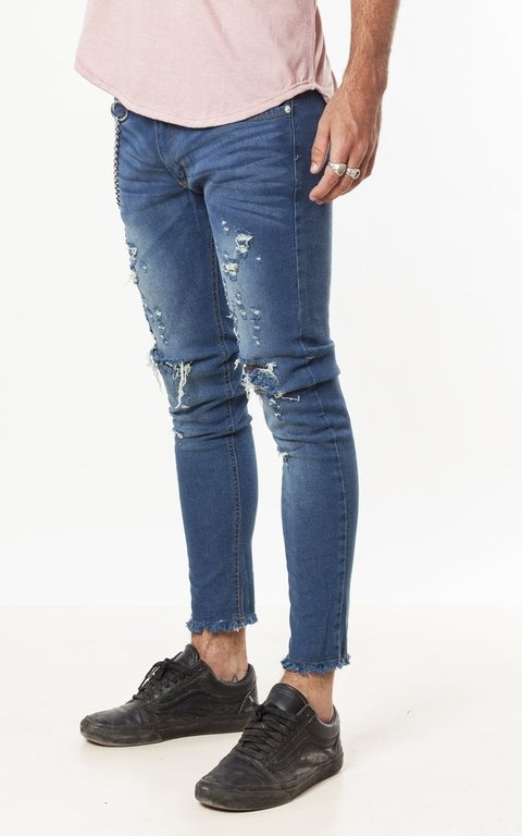 Skinny jeans - blue ripped