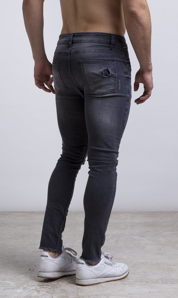 Skinny Jean - stone washed/Grey/Destroyed - comprar online