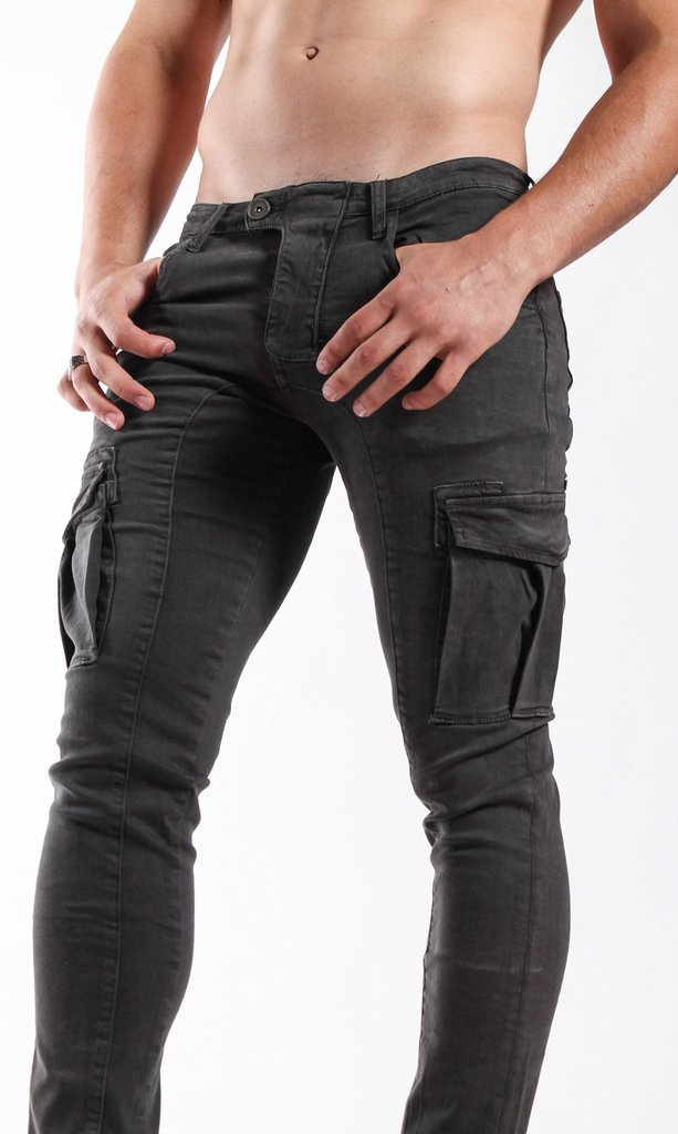 Cargo skinny pants - dark grey - buy online