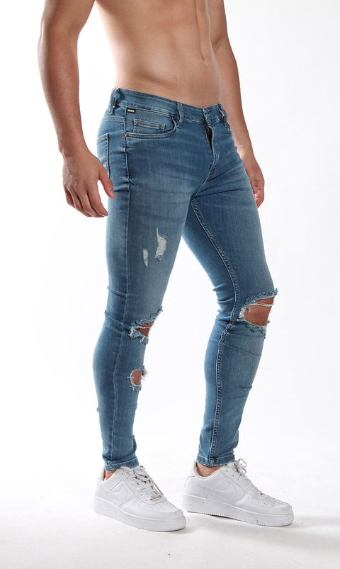 Skinny Jean - Stone washed/ blue/ destroyed
