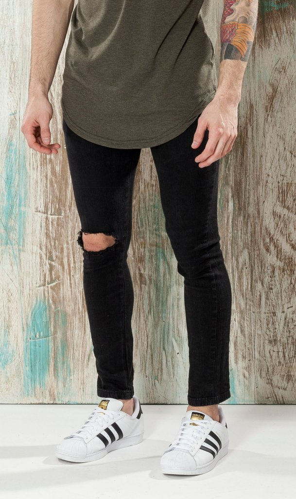 Skinny Jean #102 - Black with cuts