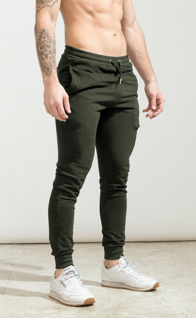 Skinny cotton jogger- army