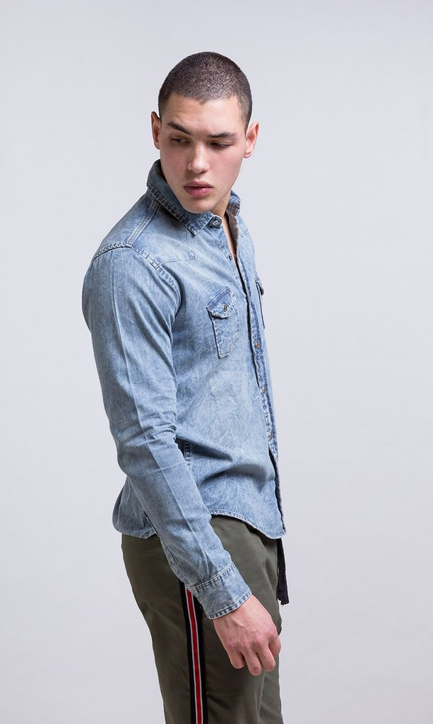 Stone washed denim shirt on internet