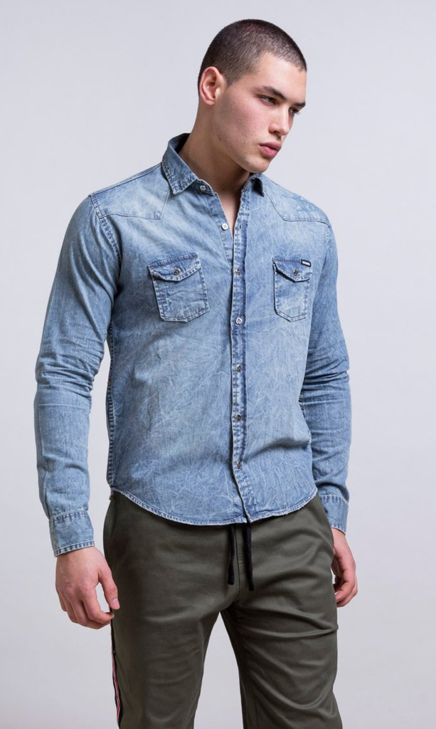 Stone washed denim shirt