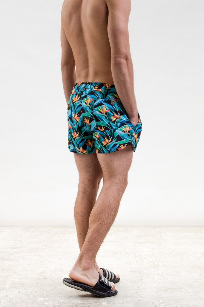 Bird flower swimshort - DARK