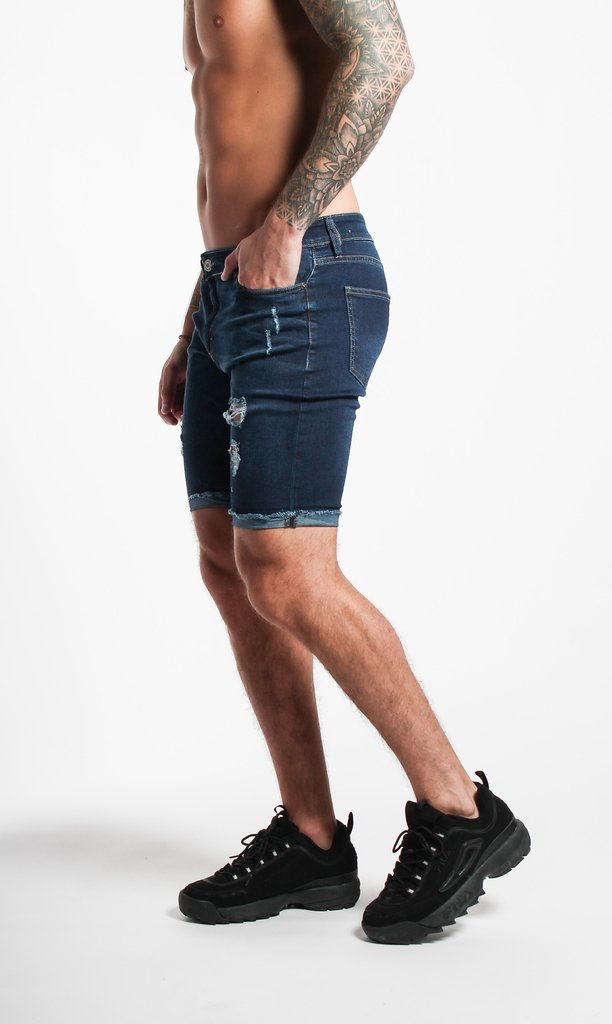Skinny jean bermuda -  Blue with cuts - buy online