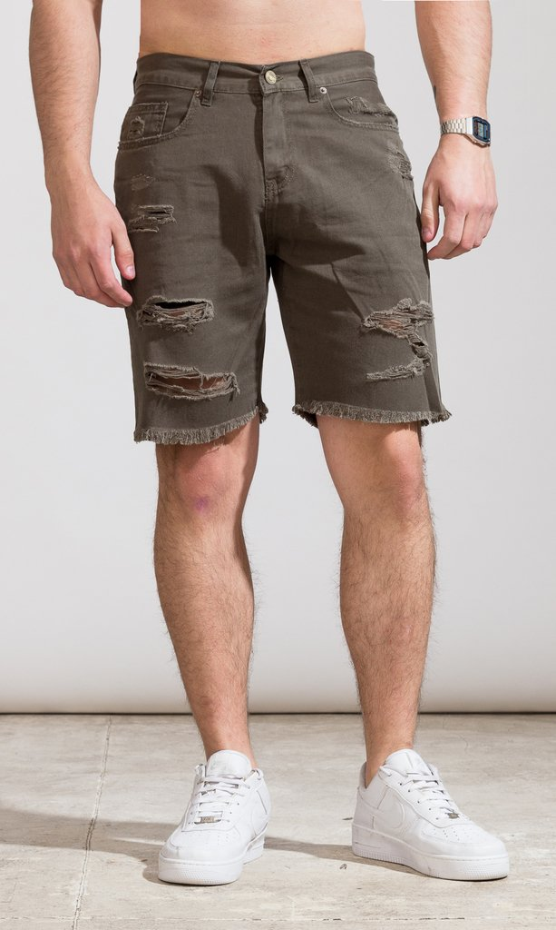 Denim skinny Bermudas - army