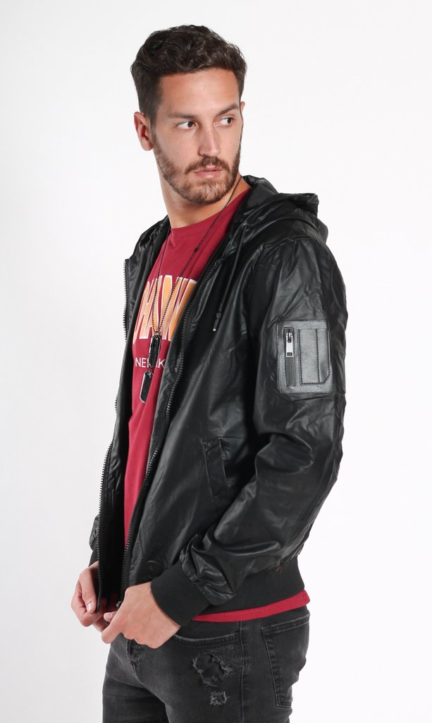 Leather sporty jacket - black - comprar online