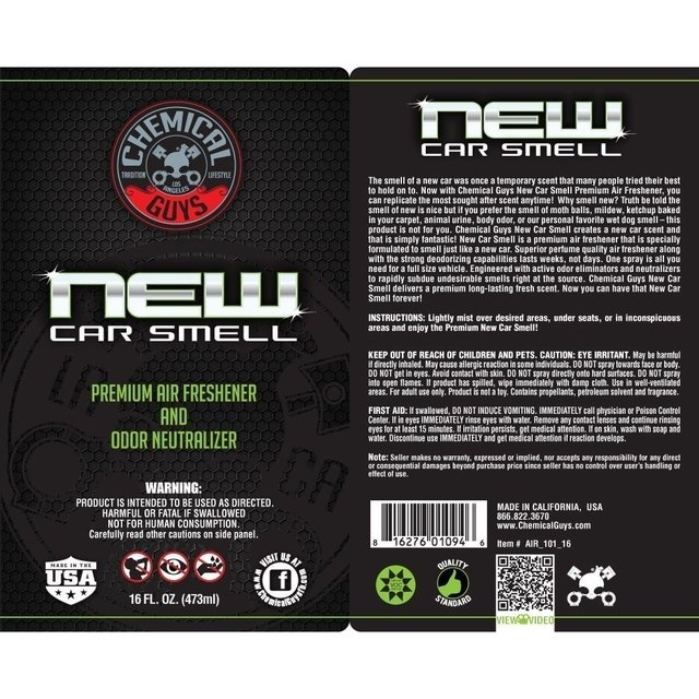 Chemical Guys New Car Smell - PURIFICADOR DE AR & ELIMINADOR DE ODOR E BACTÉRIAS COM ESSÊNCIA DE CARRO NOVO na internet