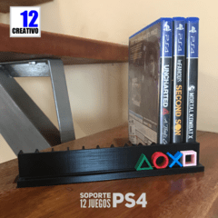 Organizador 12 Juegos Playstation Ps3 Ps4 Logo Color Soporte