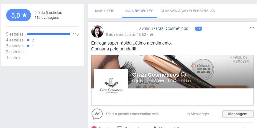 avaliações clientes grazi cosmeticos no facebook
