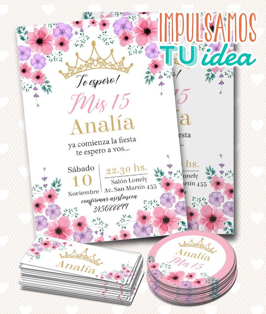 Tarjeta De 15 Con Coronita Y Flores Mas Tarjetitas Para Imprimir