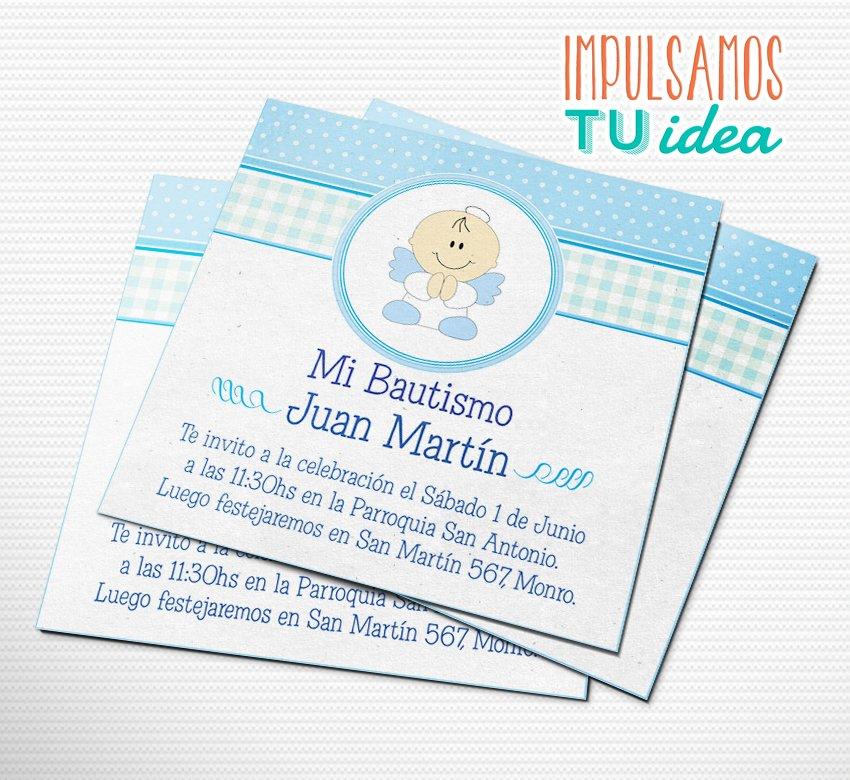 Invitación Bautismo Nene Con Angelito Imprimible
