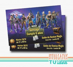 Cumple Fortnite, invitación fortnite imprimible