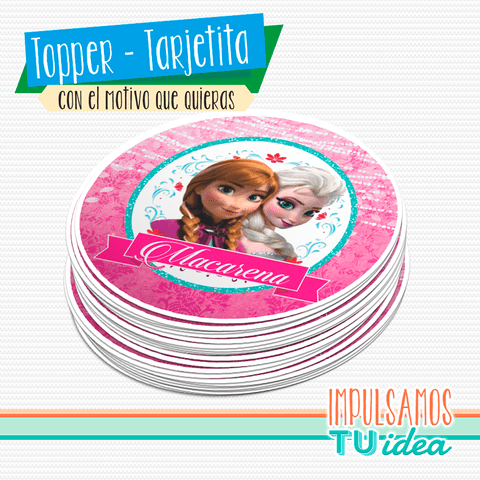 Topper cumple Frozen Ana y Elsa imprimible - buy online