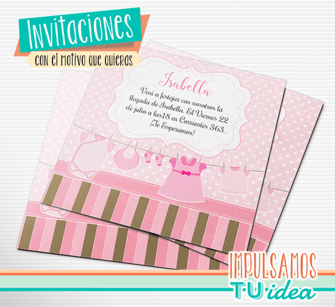 Baby shower nena - Invitación baby shower nena para imprimir