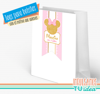 Cumple minnie, tag bolsita minnie dorado imprimible - comprar online