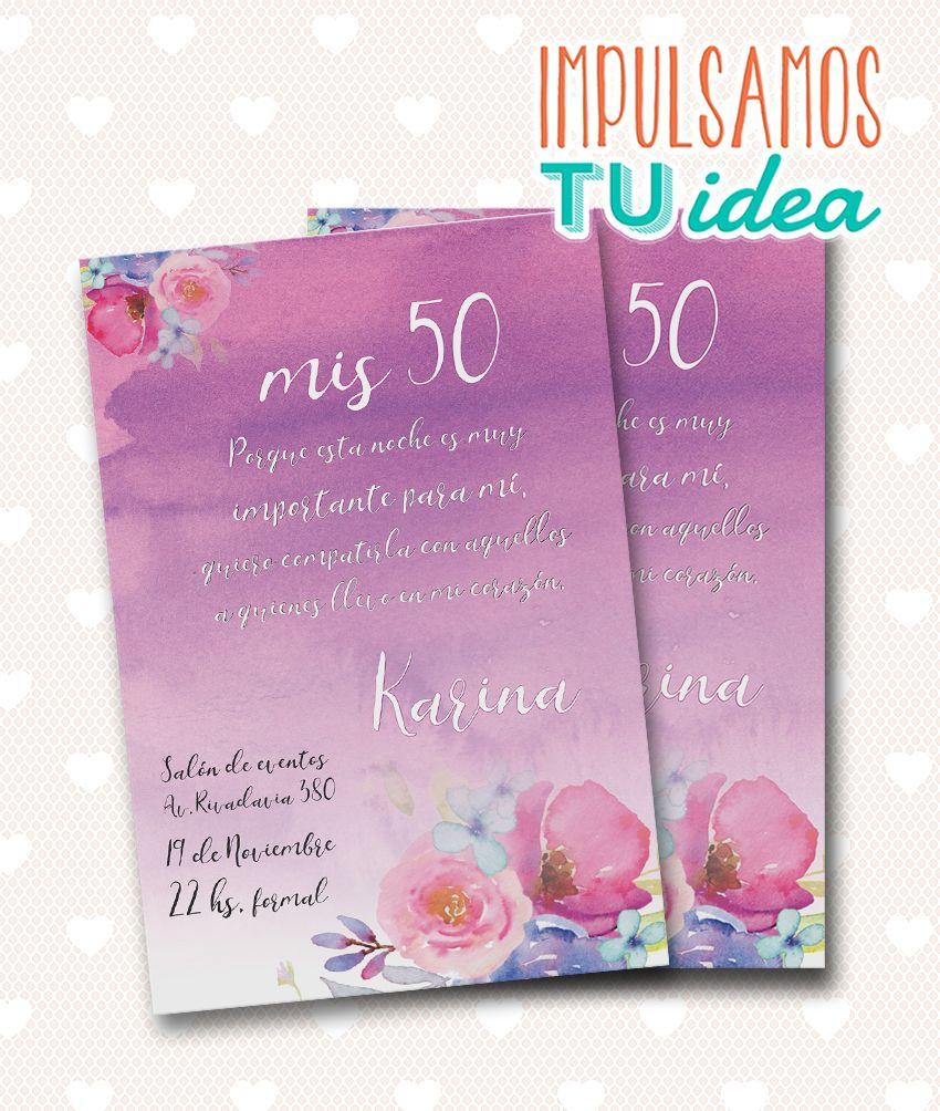 Invitación Cumple 50 Tarjeta Cumple 50 Lila Para Imprimir