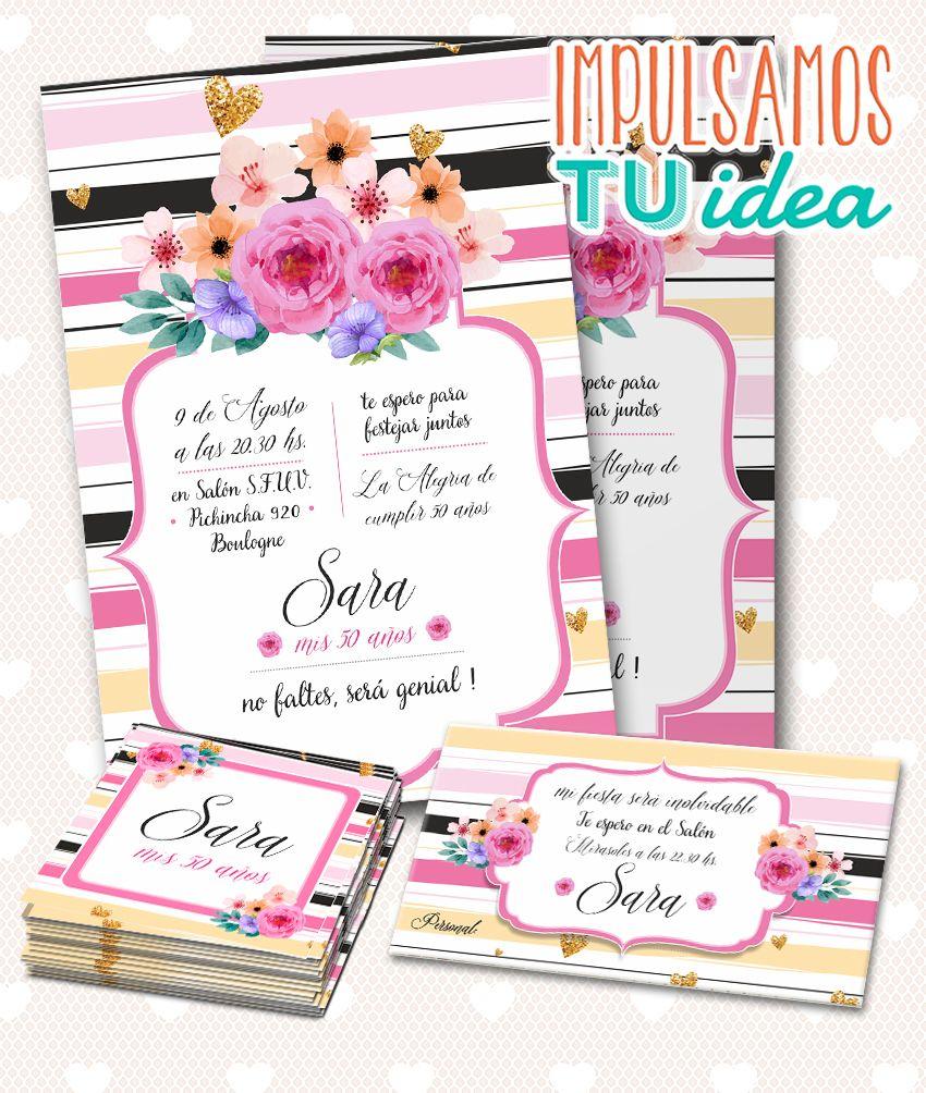 Cumple 50 Invitación 50 Con Personal Y Souvenir Imprimible