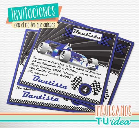 Cumple auto de carrera, invitación auto de carrera imprimible