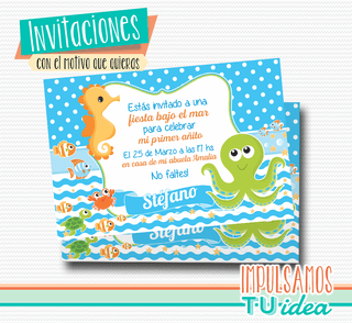 Animales bajo el mar, invitación animales de mar imprimible