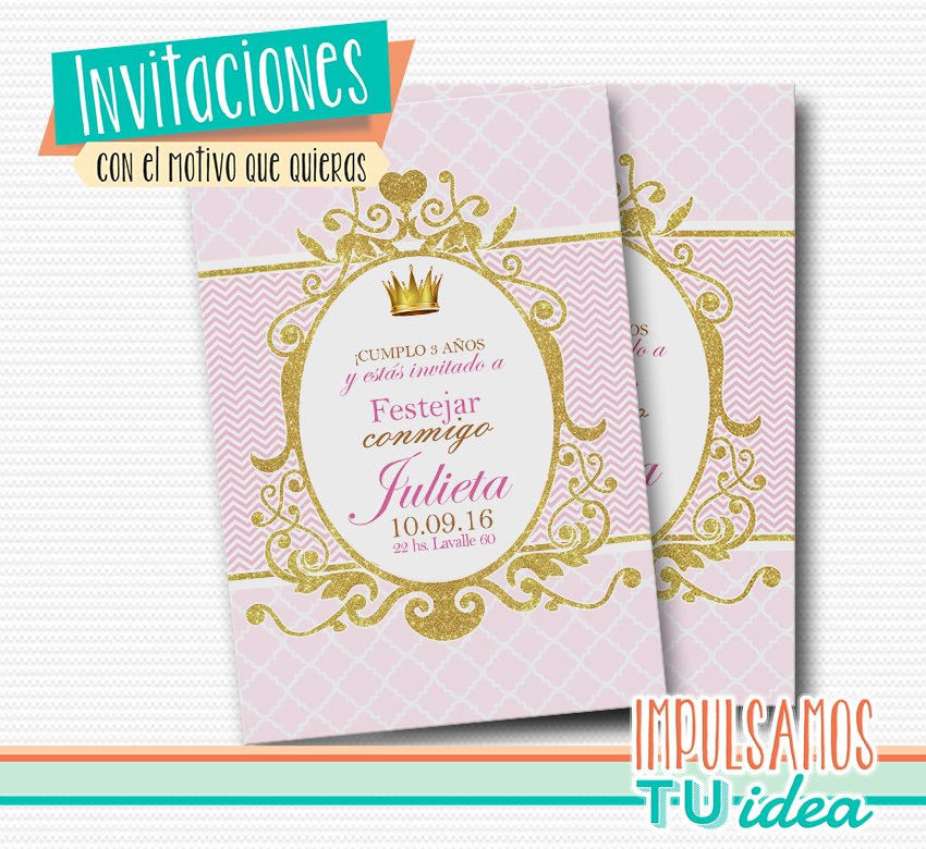 Cumple Coronita Fiesta Princesa Invitación Para Imprimir