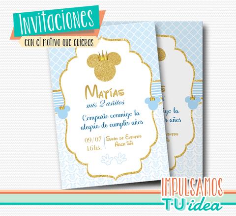 Invitación Mickey Tarjeta Mickey Con Dorado Imprimible