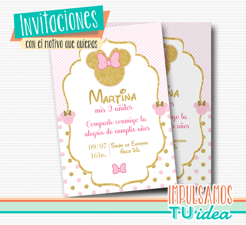 Cumple minnie, invitación minnie dorado imprimible