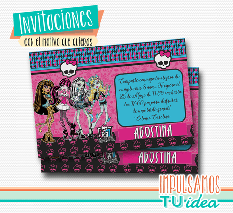 Monster High invitación - Tarjeta monster high para imprimir