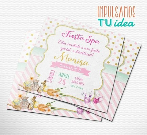 Cumple spa, invitación fiesta spa IMPRIMIBLE