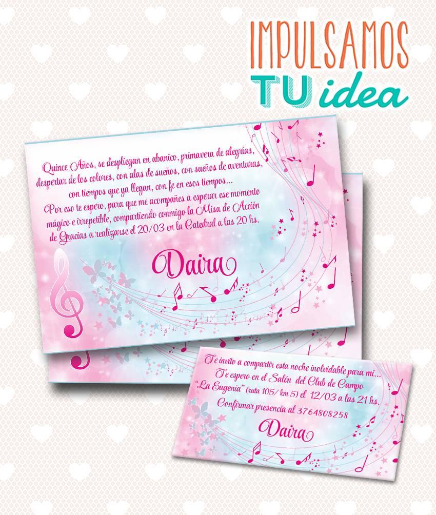 Tarjeta De Quince Invitación De 15 Música Para Imprimir