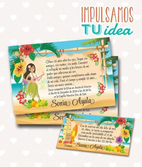 Tarjeta De 15 Para Imprimir Invitación Y Personal Hawai