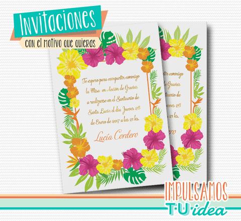 Tarjeta De Quince Invitación De Quince Flores Hawai