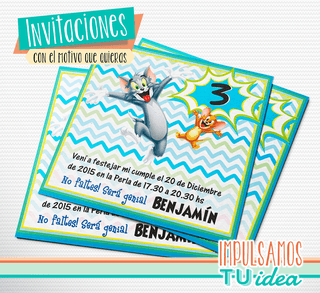Tom y Jerry - Invitación para imprimir