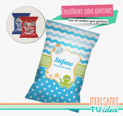 Animales bajo el mar, envoltorio alfajor imprimible - buy online
