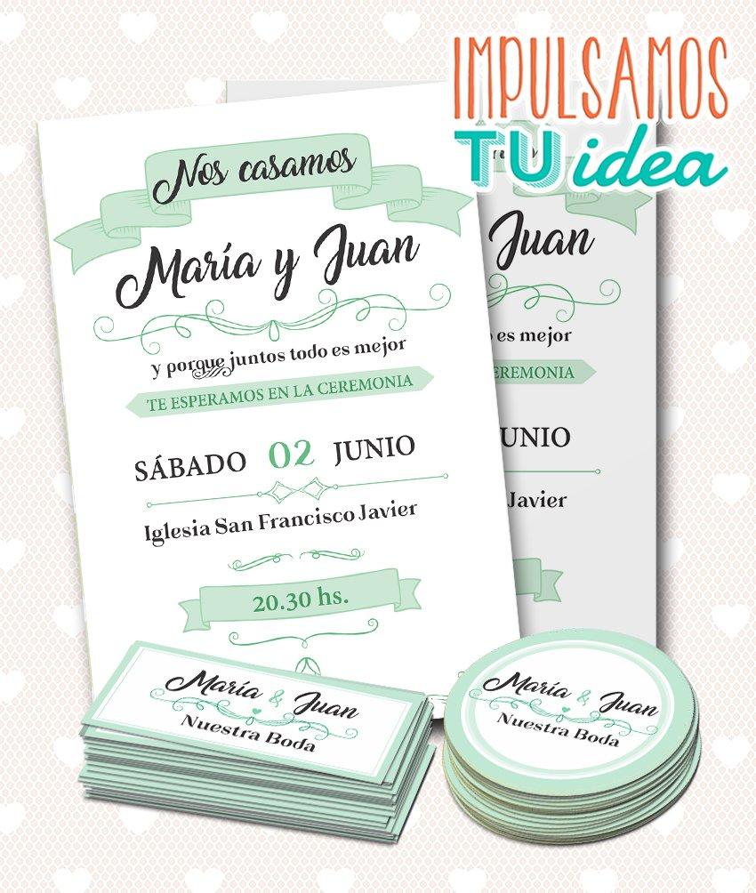 Tarjeta De Boda Verde Agua Topper Y Personal Para Imprimir