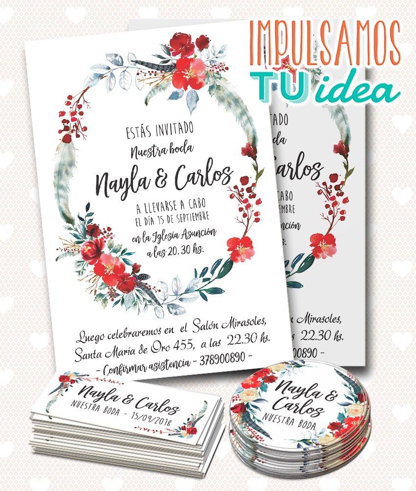 Tarjeta De Boda Con Flores Rojas Para Imprimir