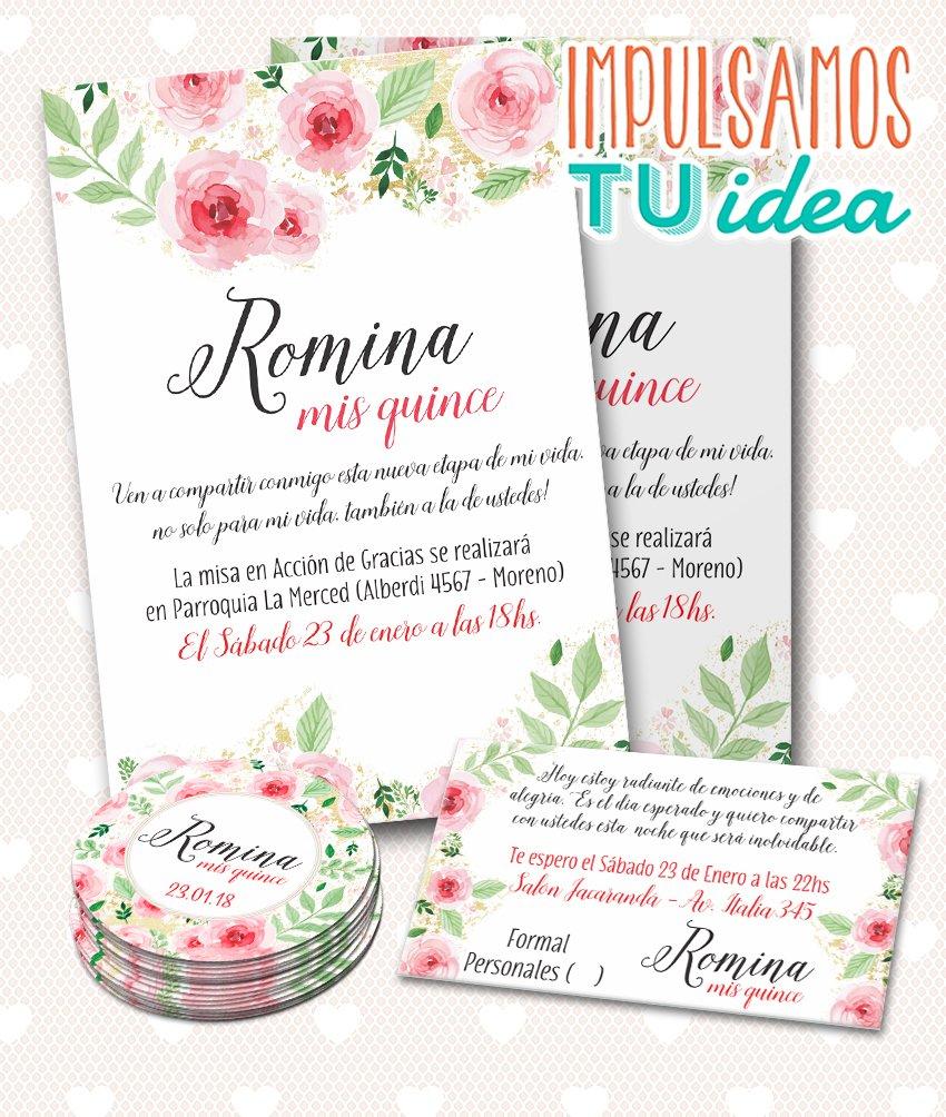 Tarjeta De 15 Invitación De Quince Con Flores Para Imprimir