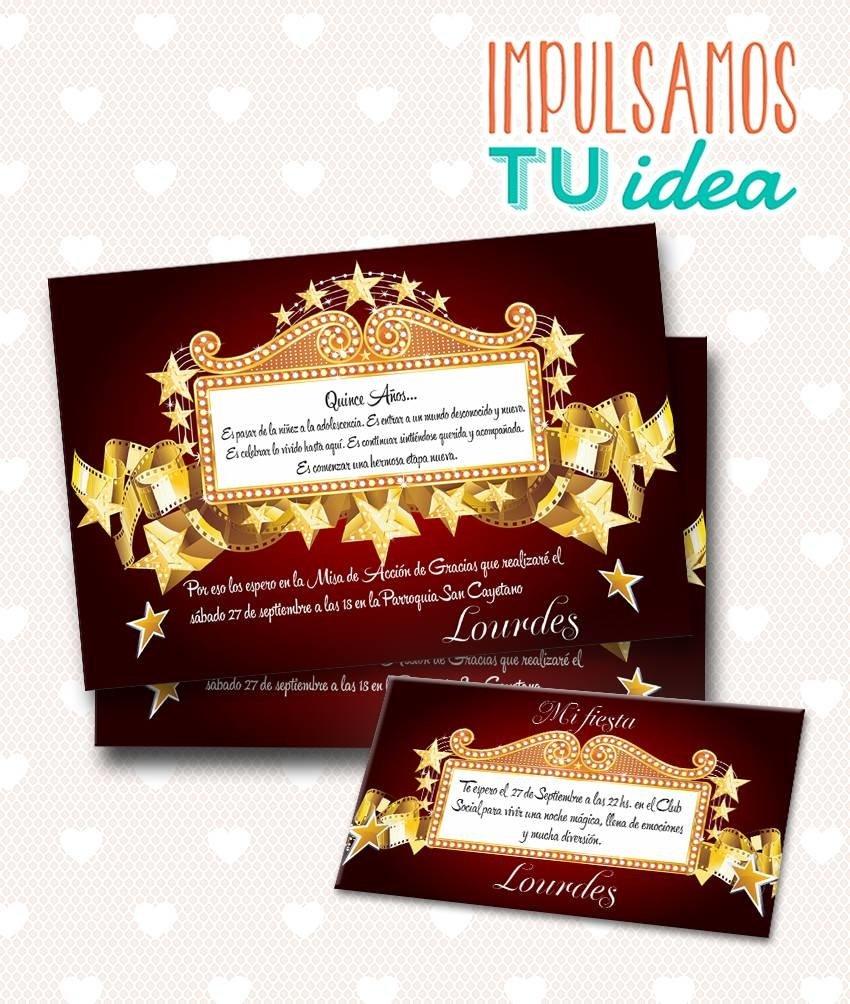 Tarjeta De 15 Para Imprimir Invitación Y Personal Cine