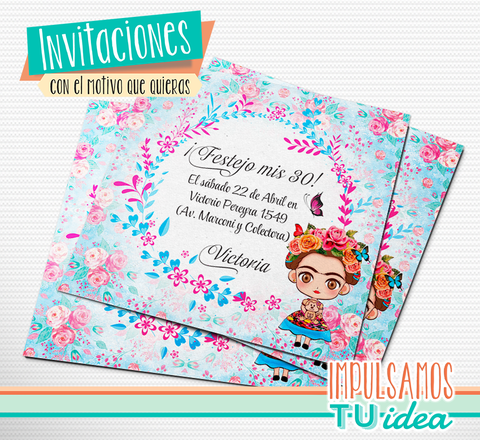 Cumple Frida - Invitación Frida imprimible