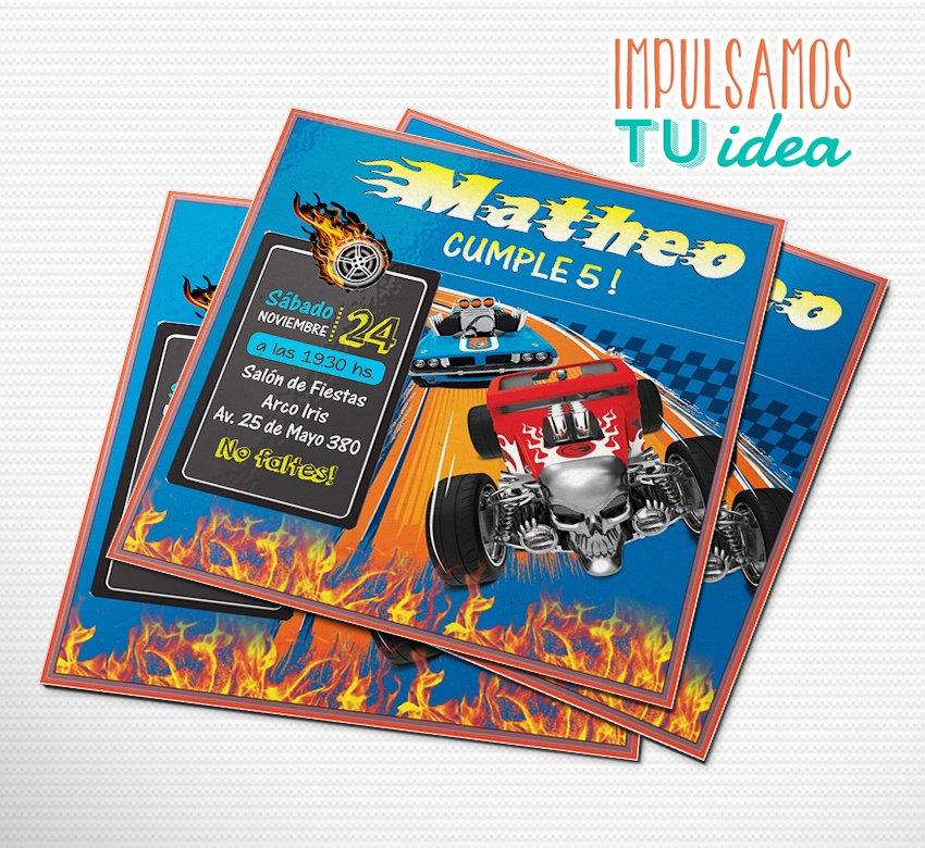 Cumple Hot Wheels Invitación Auto De Carrera Imprimible