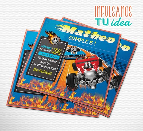 Cumple hot wheels, invitación auto de carrera imprimible