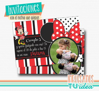Minnie - Invitación Minnie roja para imprimir