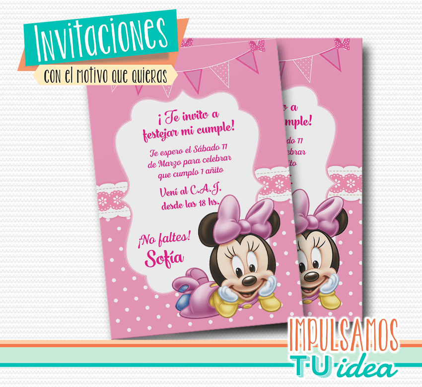Invitación Minnie Tarjetita Minnie Imprimible