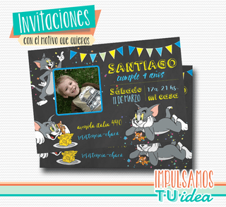 Invitación de Tom y Jerry imprimible con foto