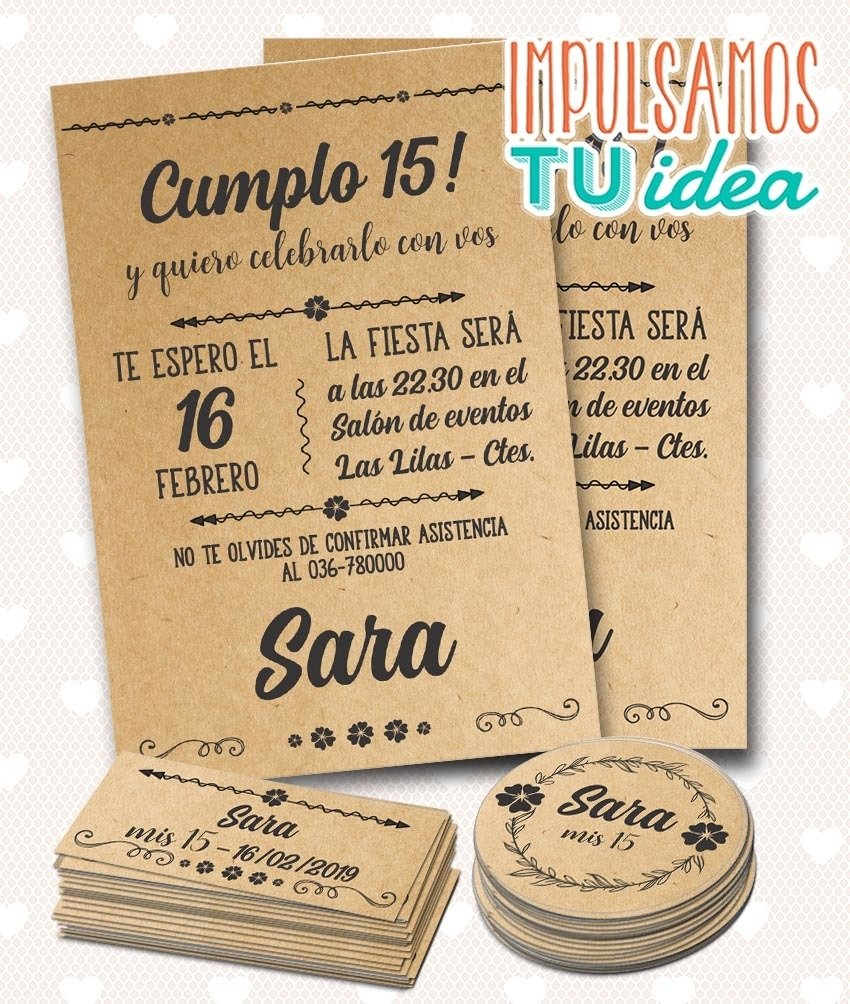 Invitación Fiesta De 15 Rústica Y Tarjetitas Para Imprimir