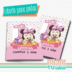 Cumple Minnie bebé, librito para colorear Minnie IMPRIMIBLE
